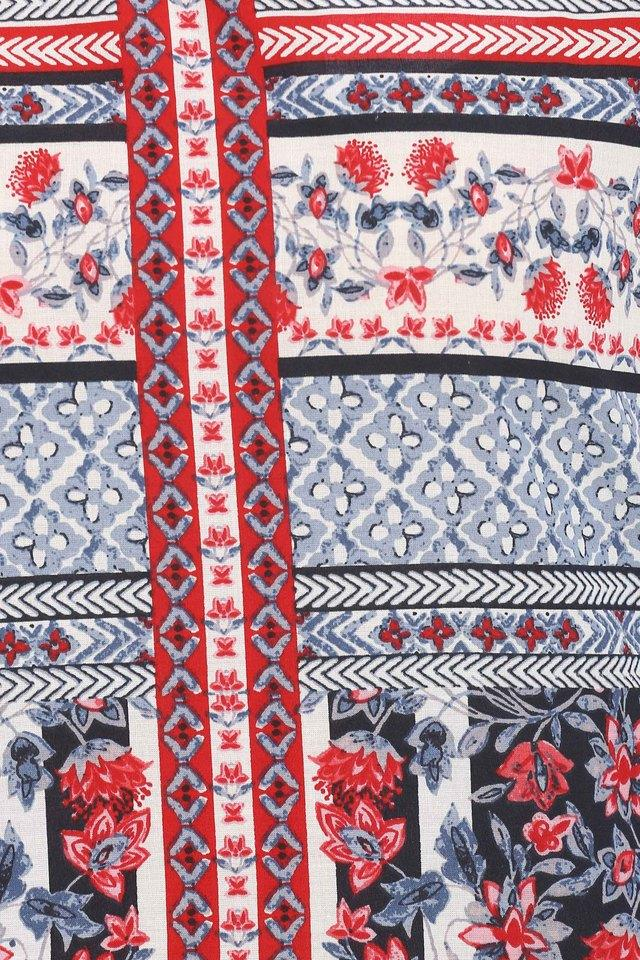 Womens Round Neck Floral Print Kurta