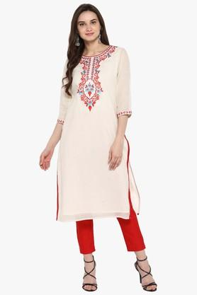 JUNIPER Womens Printed A-Line Kurta With Button Detailing