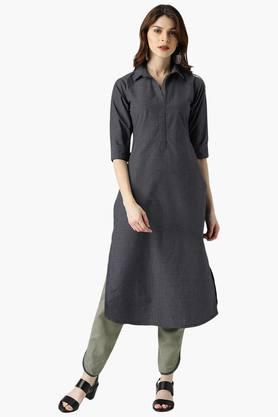 Womens Straight Checks Kurta With Solid Trouser
