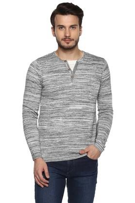 Mens Straight Fit Round Neck Slub Sweater