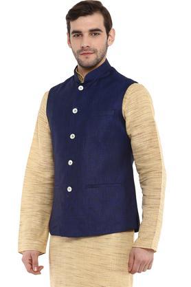 Mens Mao Collar Slub Nehru Jacket
