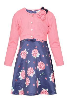 Girls Round Neck Floral Print Flared Dress With Shrug