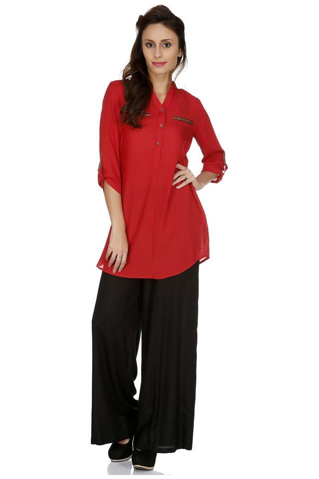 Womens Mandarin Neck Self Pattern Tunic