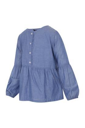 Girls Round Neck Slub Top