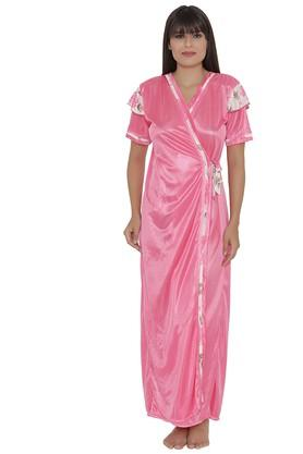 Womens Surplice Neck Solid Robe