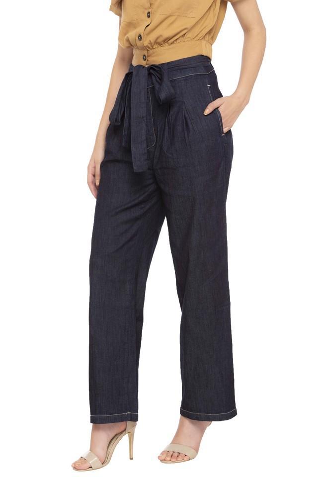 Womens 2 Pocket Slub Wideleg Pants