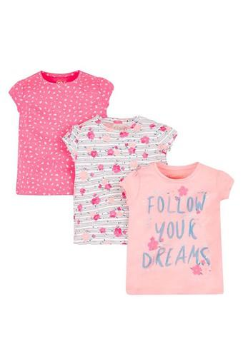 Girls Round Neck Printed Top - Pack Of 3