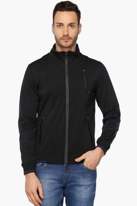 SPYKAR Mens Slim Fit Zip Through Neck Solid Jacket