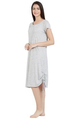 Womens Round Neck Stripe Sleep Tee