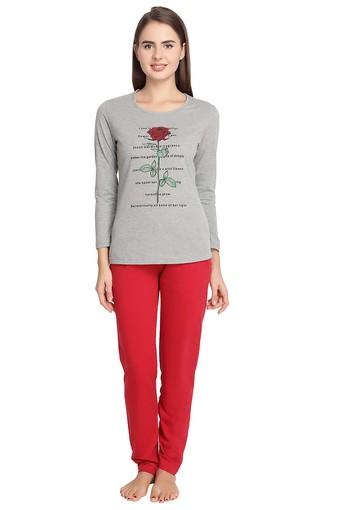 Womens Round Neck Printed Top and Solid Pyjama Set