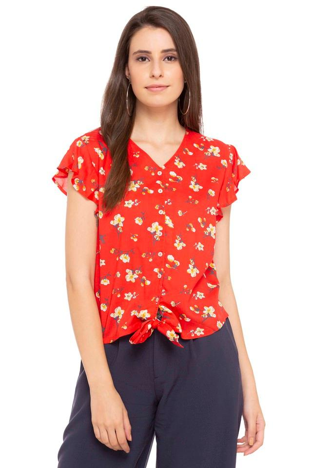 Womens V Neck Floral Print Shirt