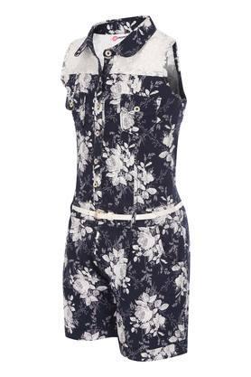 Girls Floral Print Jumpsuit with Belt