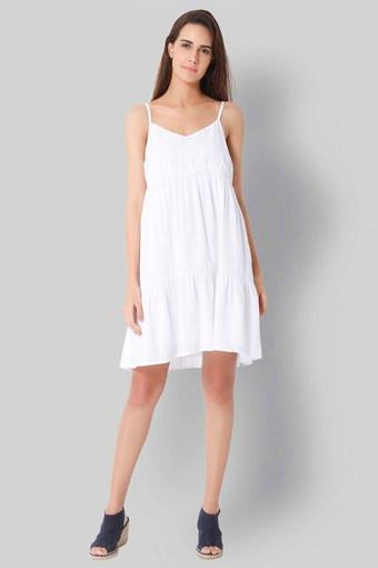 fca3df519b1 Buy VERO MODA Womens Spaghetti Neck Solid A-Line Dress   Shoppers Stop
