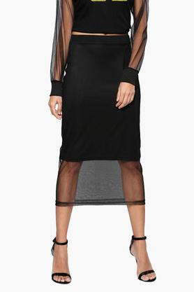 NUSH Womens Solid Midi Skirt