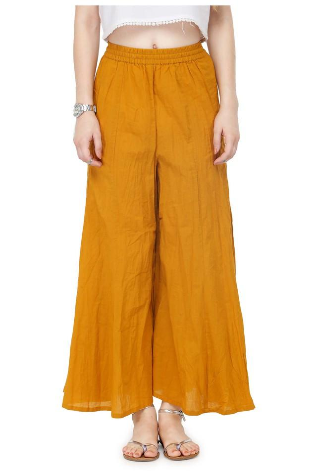 Women flared mid-rise wrinkled palazzo