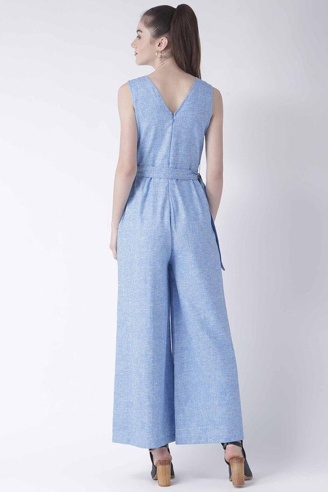 Womens V- Neck Slub Jumpsuit