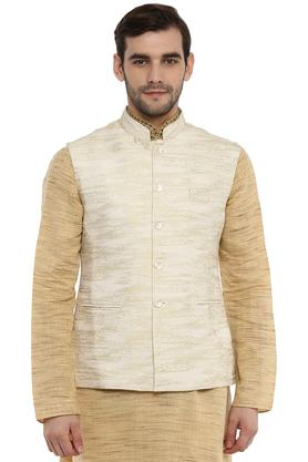 Mens Mao Collar Self Pattern Nehru Jacket