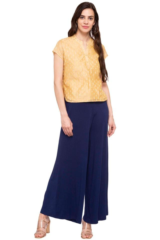 Womens Mandarin Collar Embroidered Top