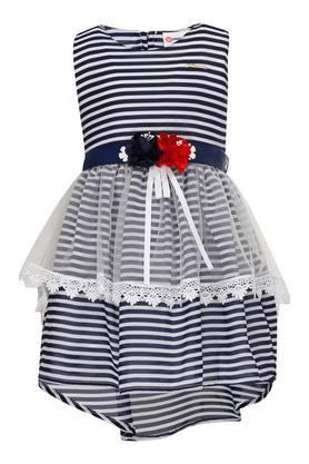 Girls Round Neck Striped Flared Dress