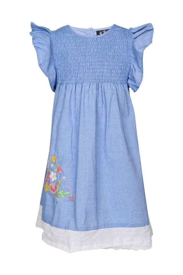 Girls Round Neck Slub Flared Dress