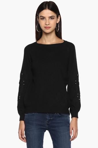 Womens Round Neck Solid Embroidered Sweater