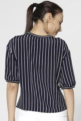 Womens Regular Fit Round Neck Stripe Top