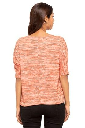 Womens V-Neck Textured T-Shirt