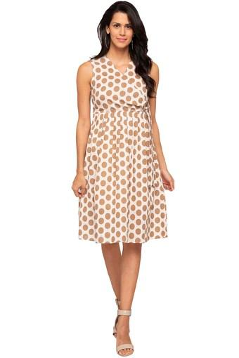 Womens Surplice Neck Polka Dot Flared Dress