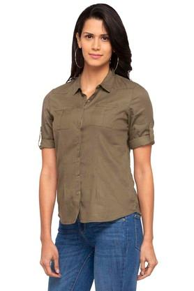 Womens 2 Pocket Solid Shirt