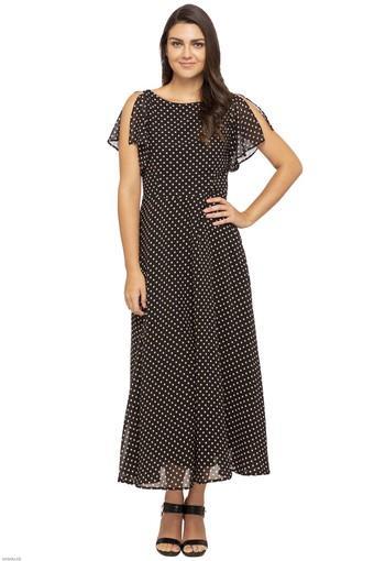 Womens Boat Neck Printed Maxi Dress