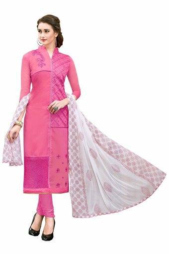 Womens Chanderi Cotton Designer Unstitched Dress Material