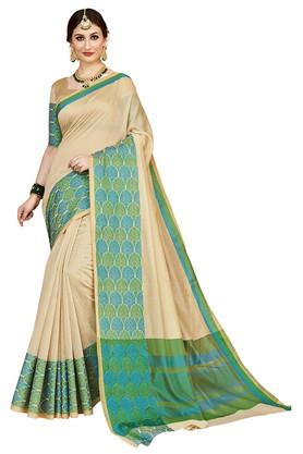 Womens Solid Woven Saree with Blouse Piece