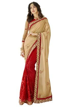DEMARCA Womens Colour Block Embroidered Saree With Blouse Piece - 204771707_9607