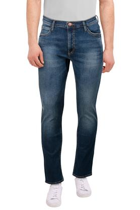 Mens 5 Pocket Whiskered Effect Jeans (Bruce Fit)