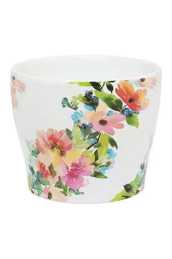 Round Floral Printed Planter