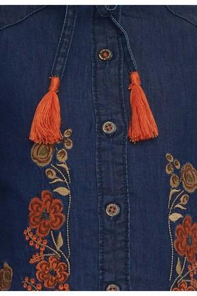 Girls Tie Up Neck Embroidered Top