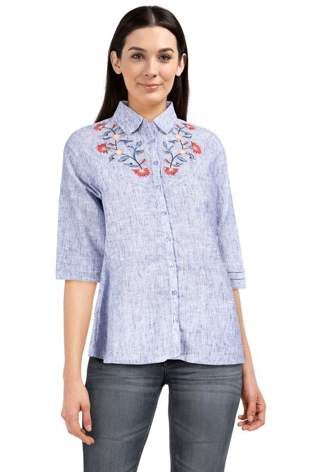 Womens Collared Slub Embroidered Shirt