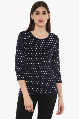 FEMINA FLAUNT Womens Round Neck Dot Pattern Sweater