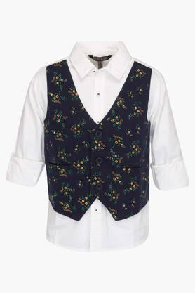 Boys Collared Solid Shirt with Attached Waistcoat