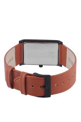 Mens Black Dial Leather Analogue Watch - TWEG17307