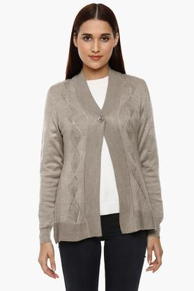 APSLEY Womens Open Neck Knitted Pattern Cardigan