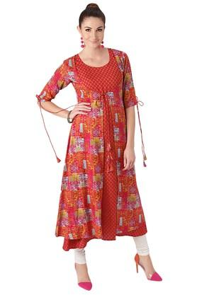 LIBAS Womens Rayon Printed Aline Kurta And Ethnic Jacket