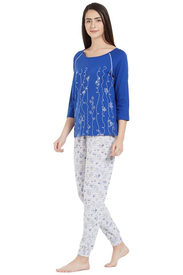 Womens Round Neck Printed Top and Pyjama Set