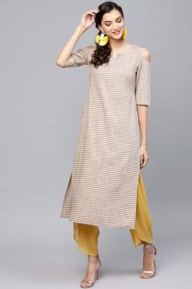 Womens Notched Collar Striped Kurta