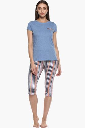Womens Round Neck Stripe Top and Capri Set