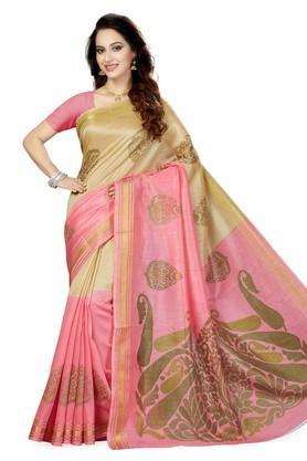 Womens Printed Bhagalpuri Art Silk Saree