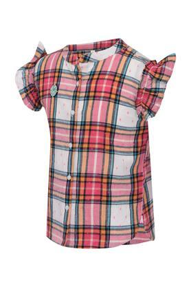 Girls Band Collar Checked Top