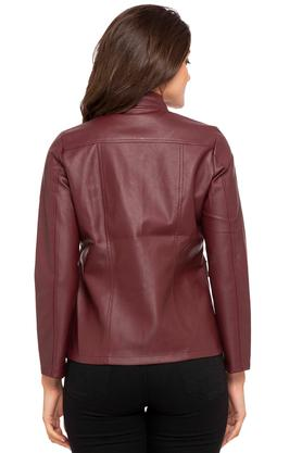 Womens Mandarin Neck Solid Casual Jacket