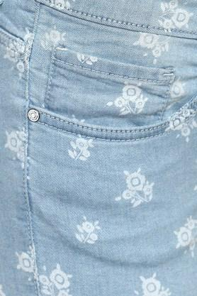 Womens 5 Pocket Rinse Wash Printed Shorts