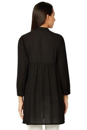 Womens Band Neck Embroidered Tunic
